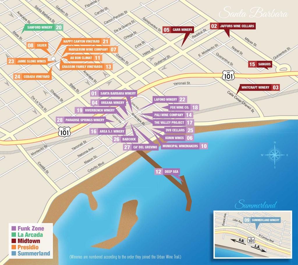 Santa Barbara Urban Wine Trail Map - Santa Barbara California Map