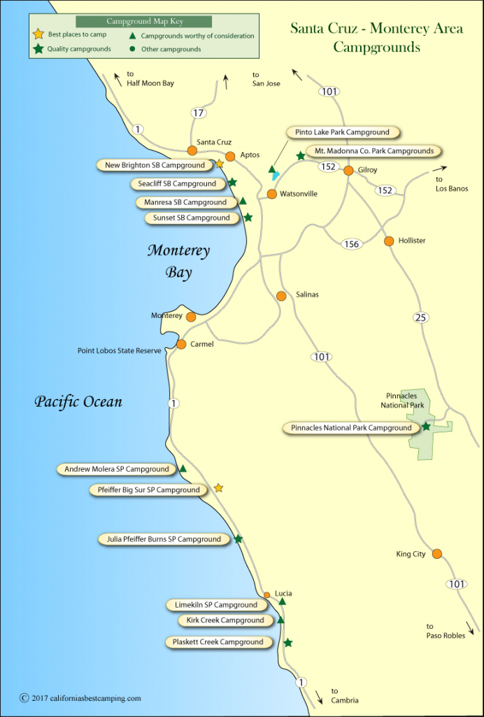 Santa Cruz - Monterey Area Campground Map - Monterey Beach California Map