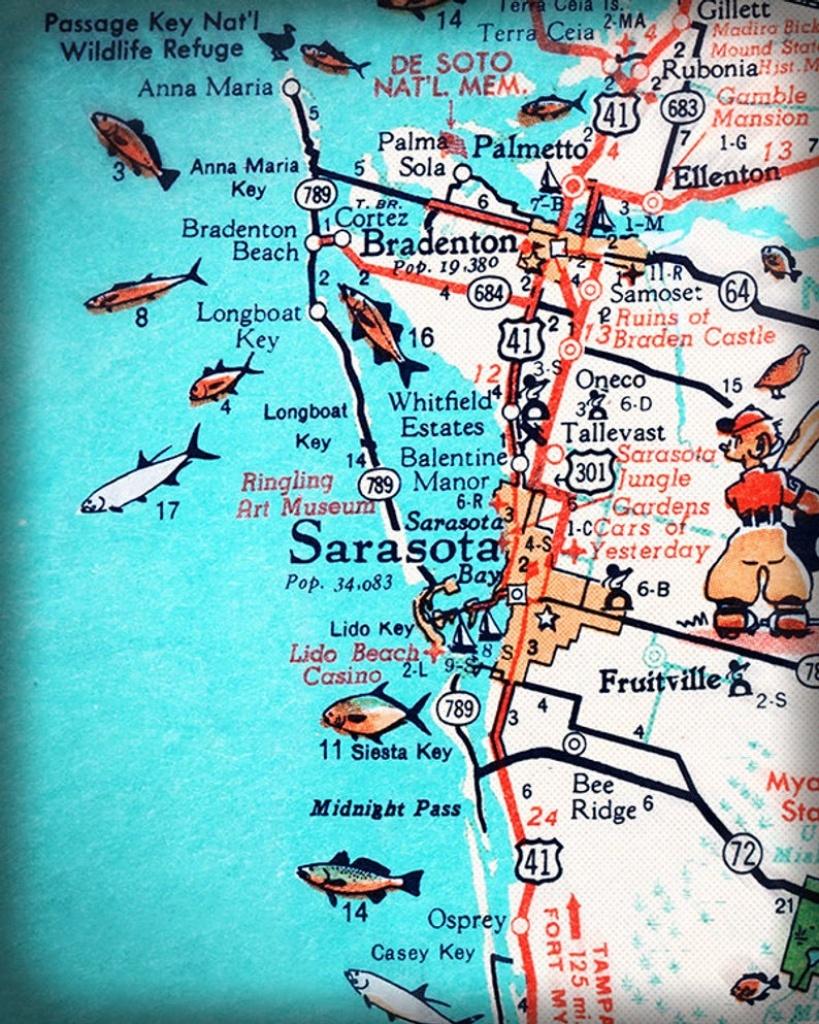 Sarasota Bradenton Retro Beach Map Print Funky Vintage | Etsy - Sarasota Beach Florida Map