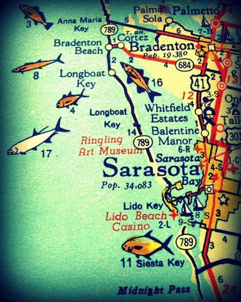 Sarasota Siesta Key Florida 11X14 Vintage Map Photograph Beach | Etsy - Siesta Key Beach Florida Map