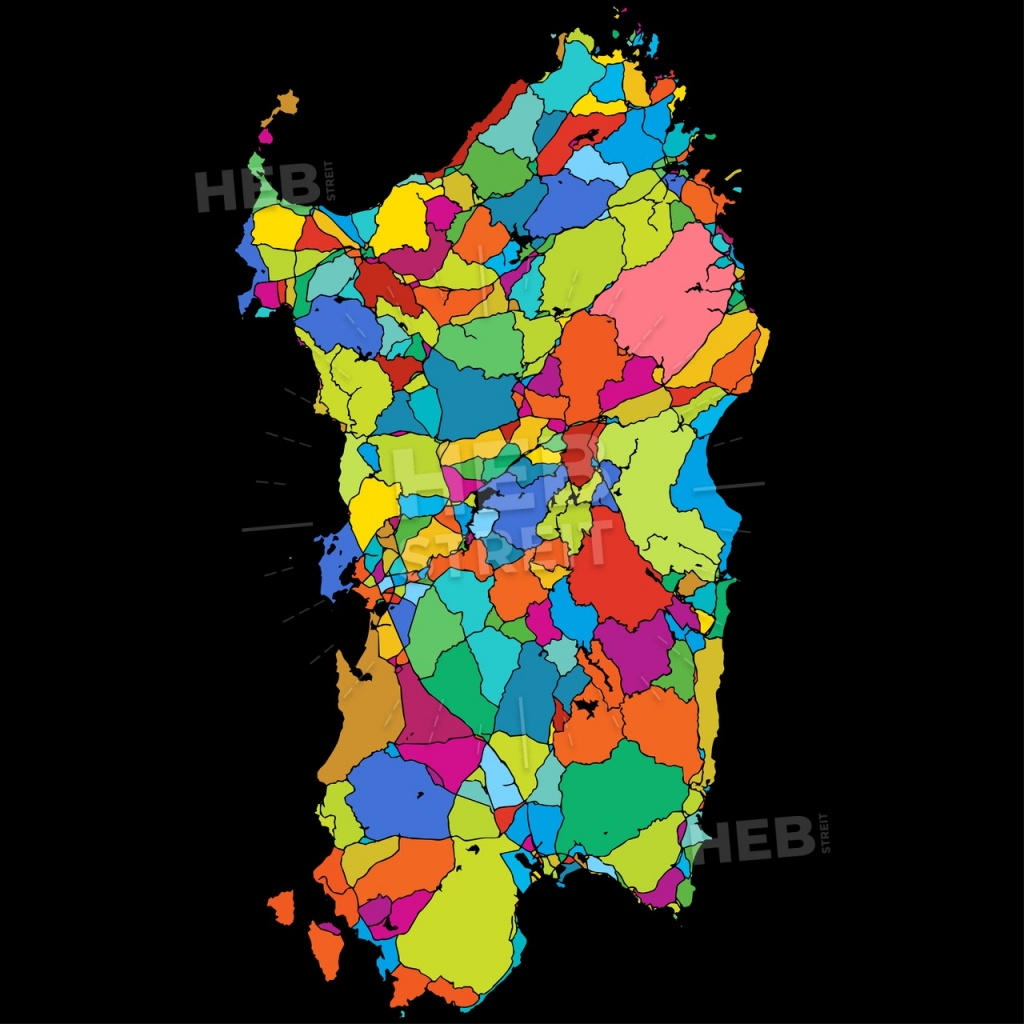 Sardinia, Island, Italy, Colorful Vector Map On Black | Hebstreits - Printable Map Of Italy To Color