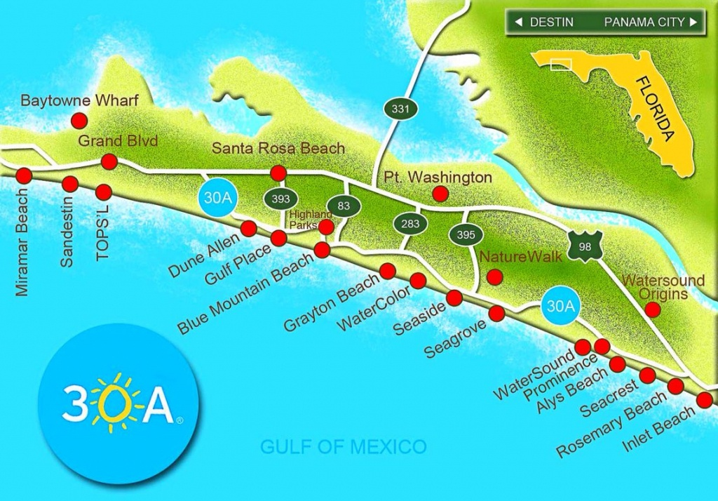 Scenic Highway 30-A Is A 28.5 Mile Slice Of Paradise That Hugs The - Emerald Coast Florida Map