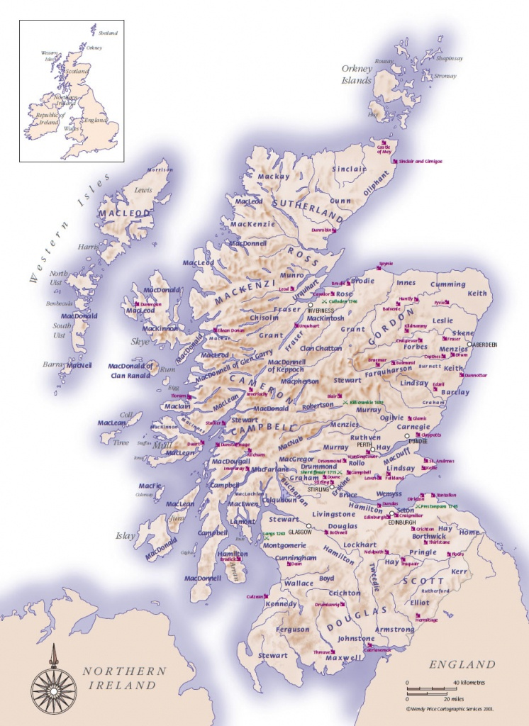 Scottish Clans And Castles - Clan Land Map - Detailed Map Of Scotland Printable