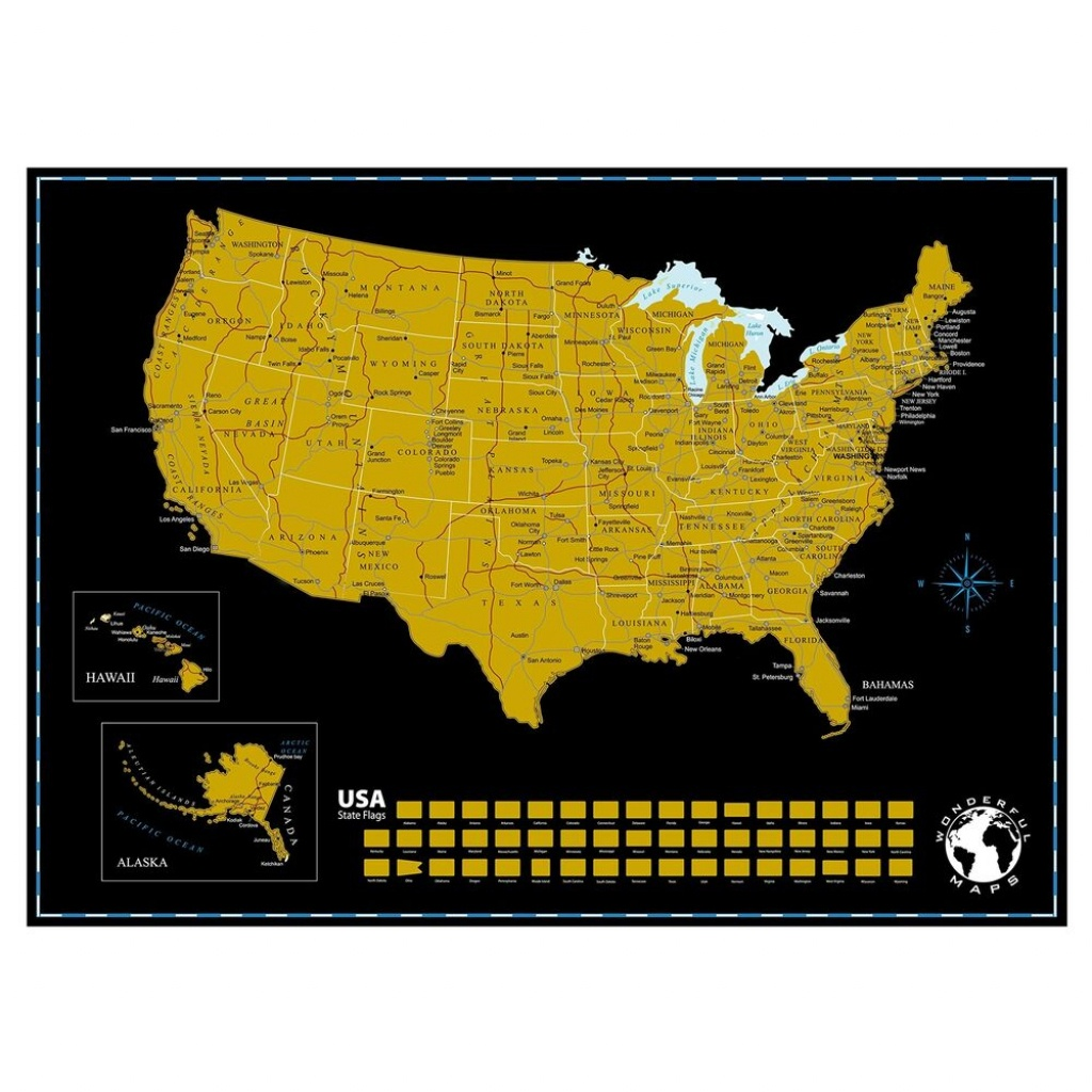 Scratch Off Map Of The United States Of America State Flags On Black - Florida Scratch Off Map