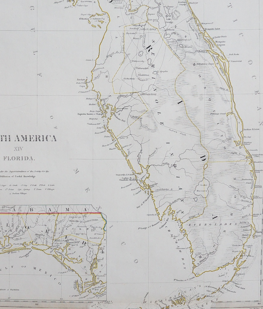 Sduk Map Of Florida 1834 || Michael Jennings Antique Maps And Prints - Jennings Florida Map