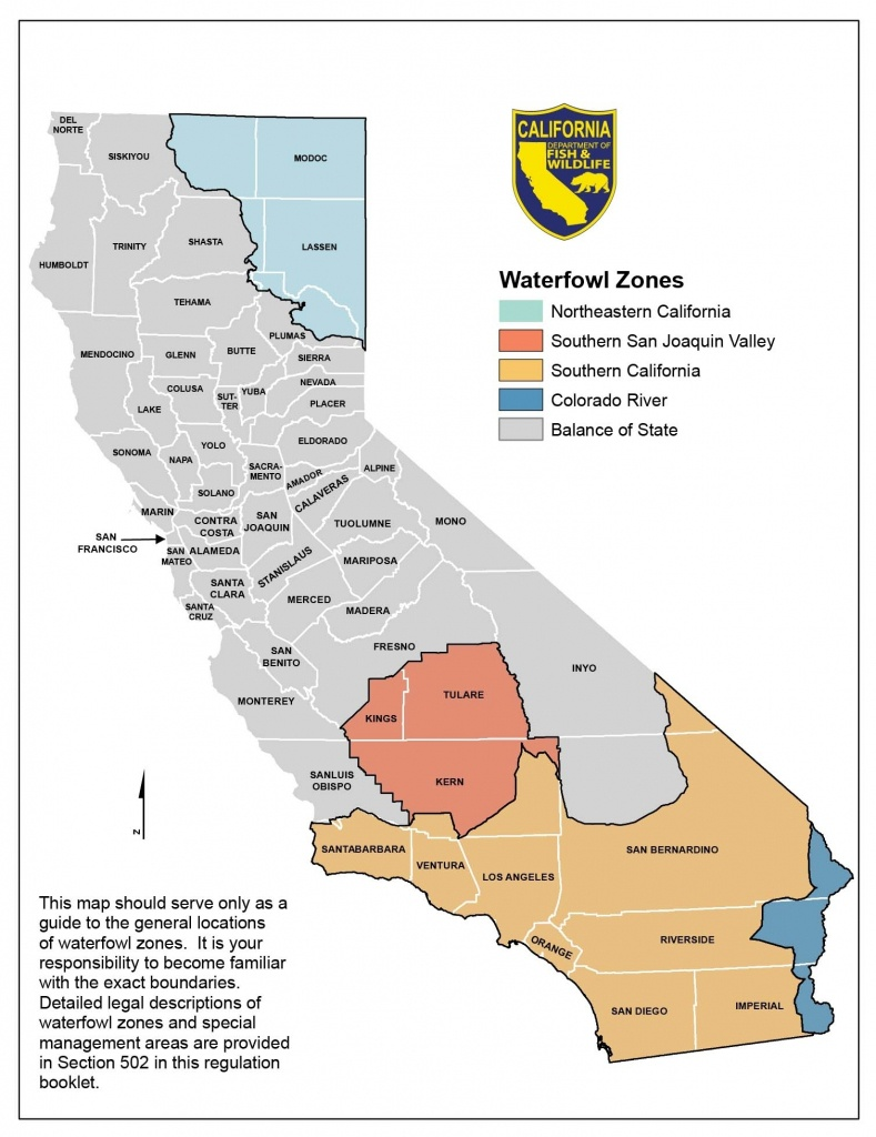 Season Dates And Bag Limits – California Waterfowl Association In - California Hunting Map