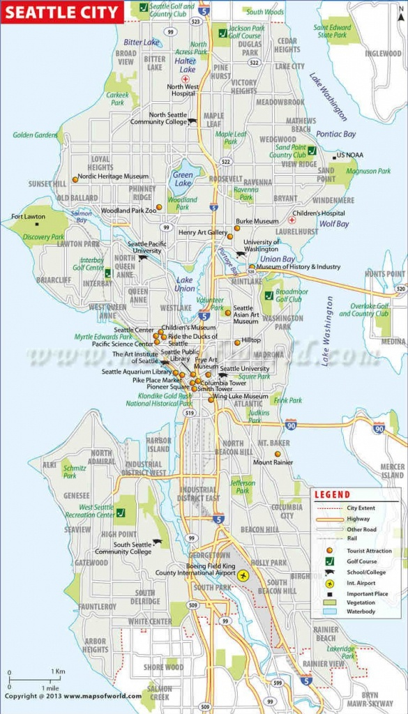 Seattle City Map | #worldmapstore | Seattle City, Washington Map - Printable Map Of Seattle Area