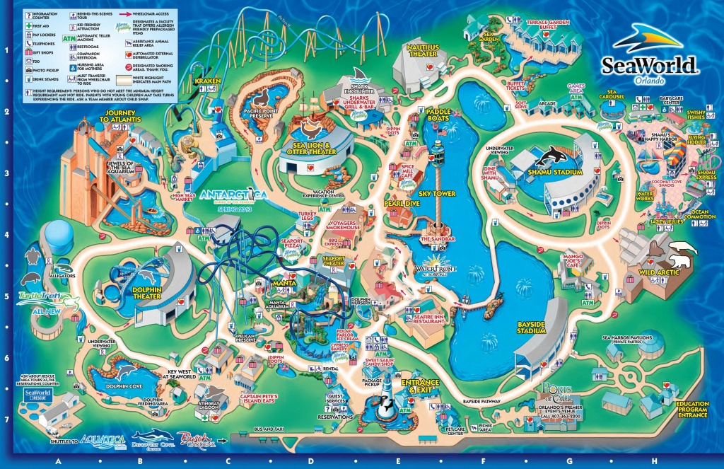 Seaworld Orlando Theme Park Map - Orlando Fl • Mappery | Aquariums - Orlando Florida Attractions Map