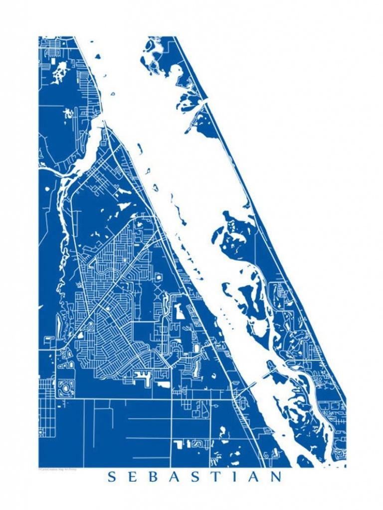 Sebastian Florida Map Art Poster Print Customize Your Map | Etsy - Sebastian Florida Map