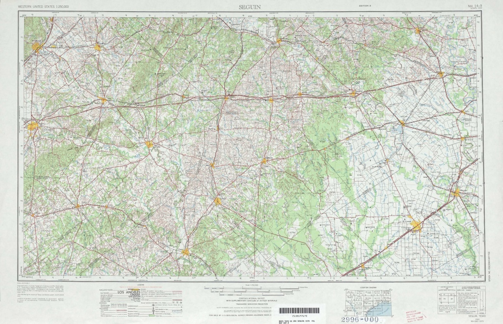 Seguin Topographic Maps, Tx - Usgs Topo Quad 29096A1 At 1:250,000 Scale - Seguin Texas Map
