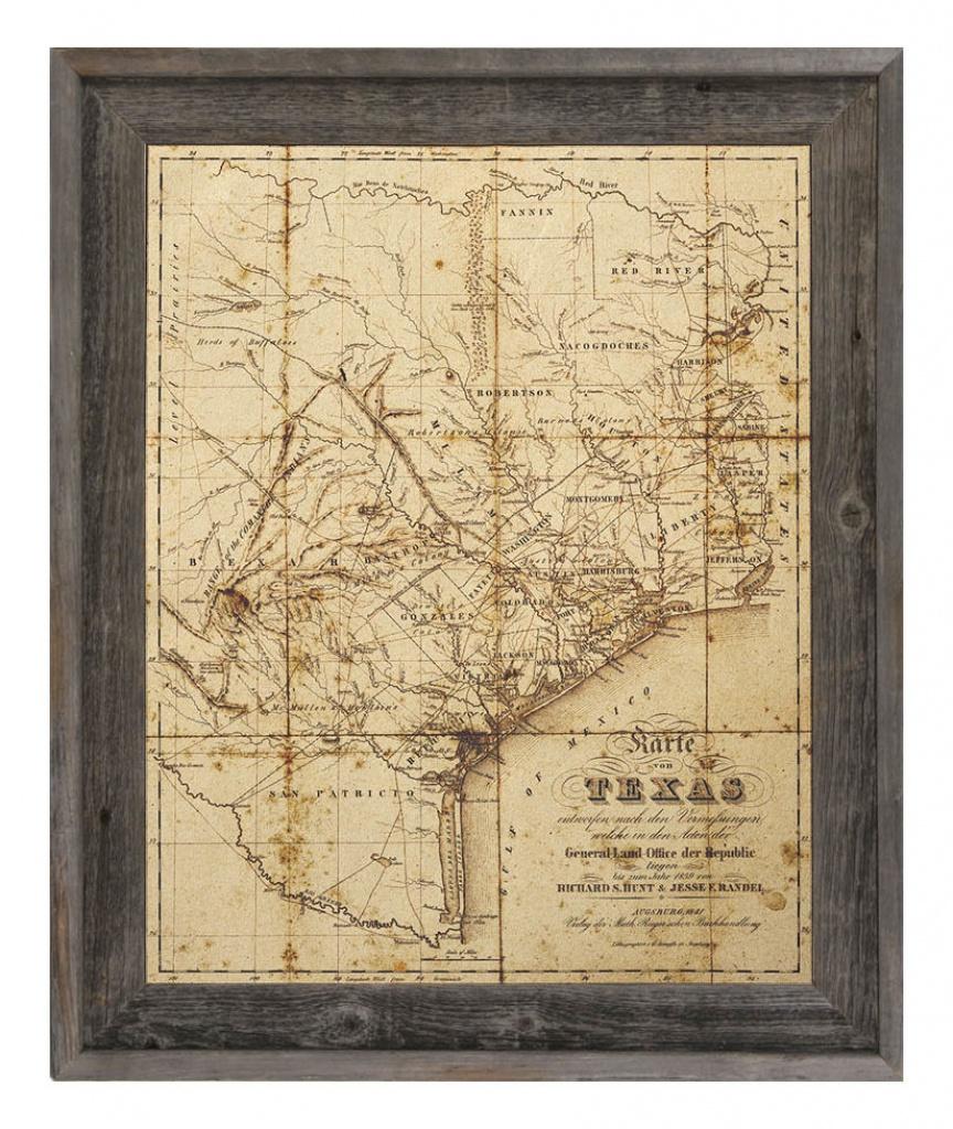 'sepia Texas Map' Framed Graphic Art - Framed Texas Map