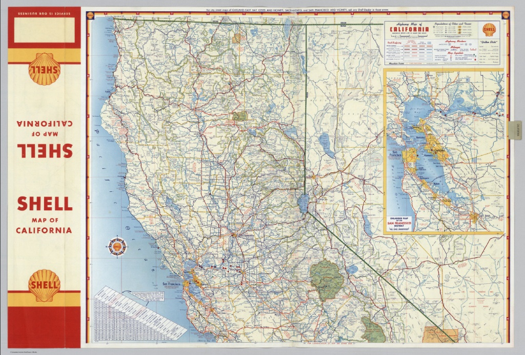 Shell Highway Map Of California (Northern Portion). - David Rumsey - California Atlas Map