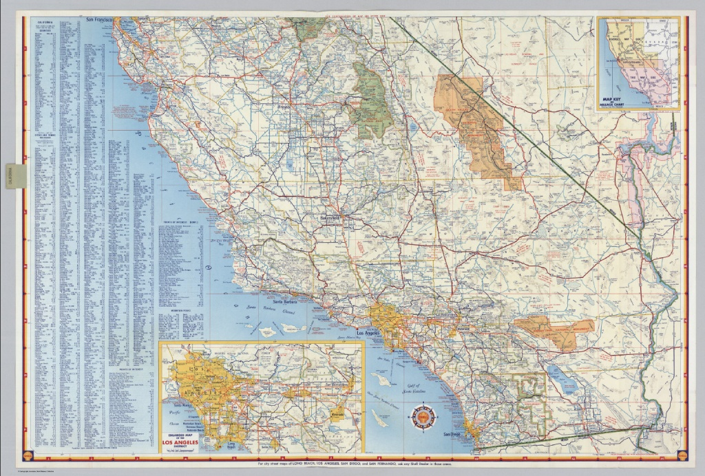 Shell Highway Map Of California (Southern Portion). - David Rumsey - Driving Map Of California With Distances
