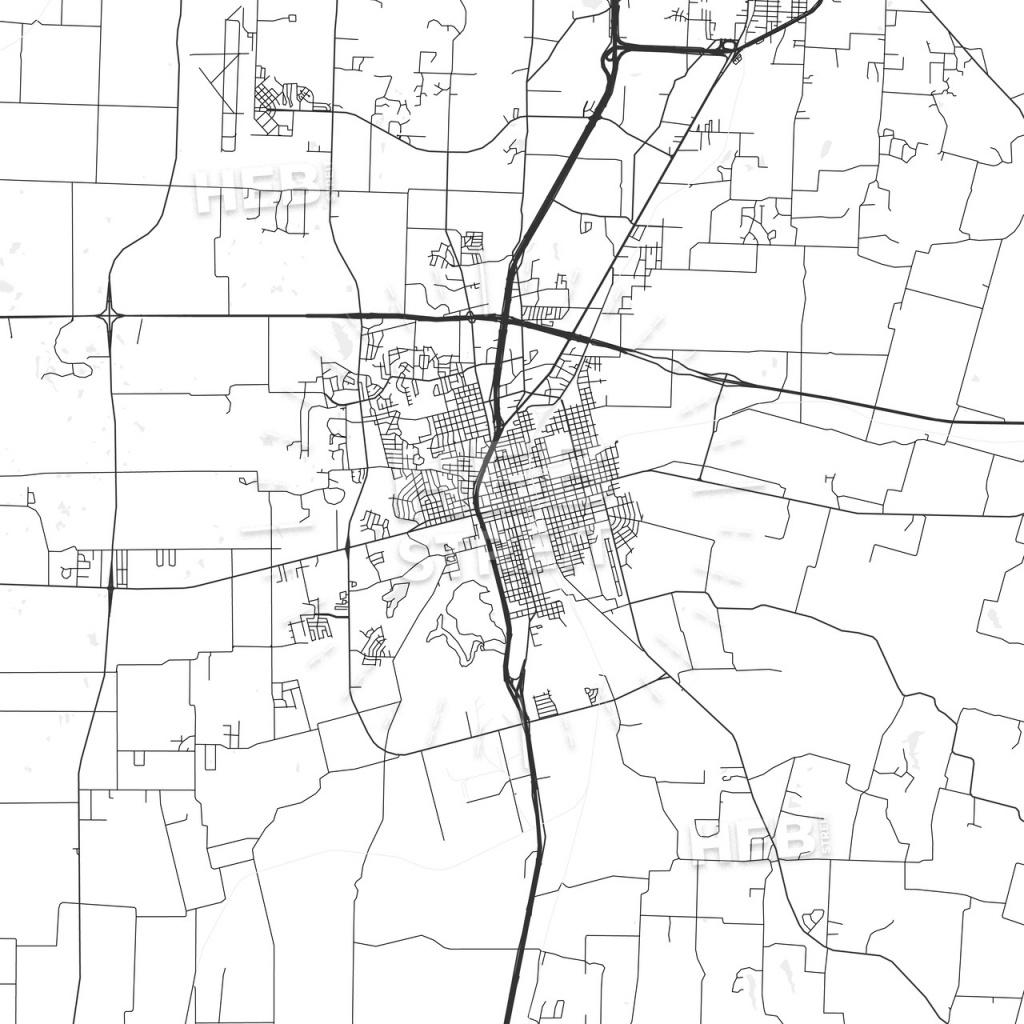 Sherman, Texas - Area Map - Light | Hebstreits Sketches - Sherman Texas Map