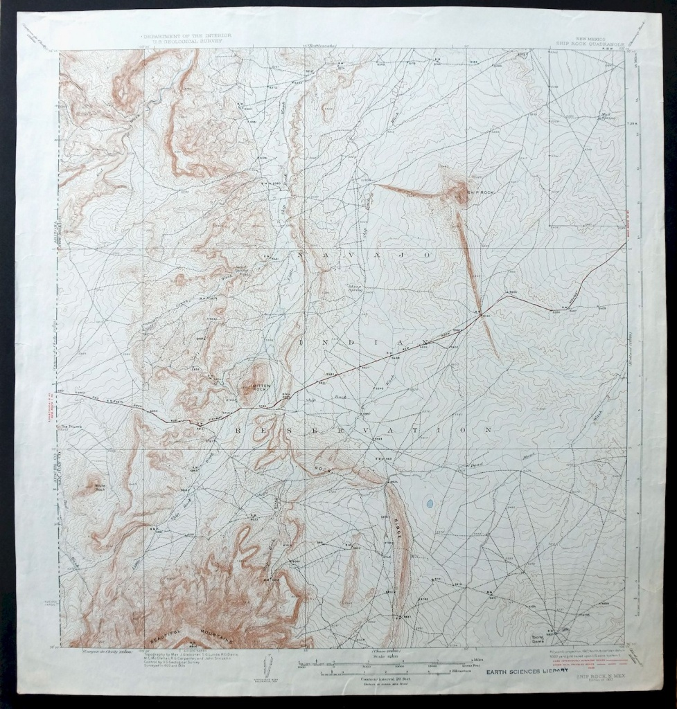 Ship Rock New Mexico Vintage 1937 Usgs Topo Map Shiprock 15-Minute - Usgs Printable Maps
