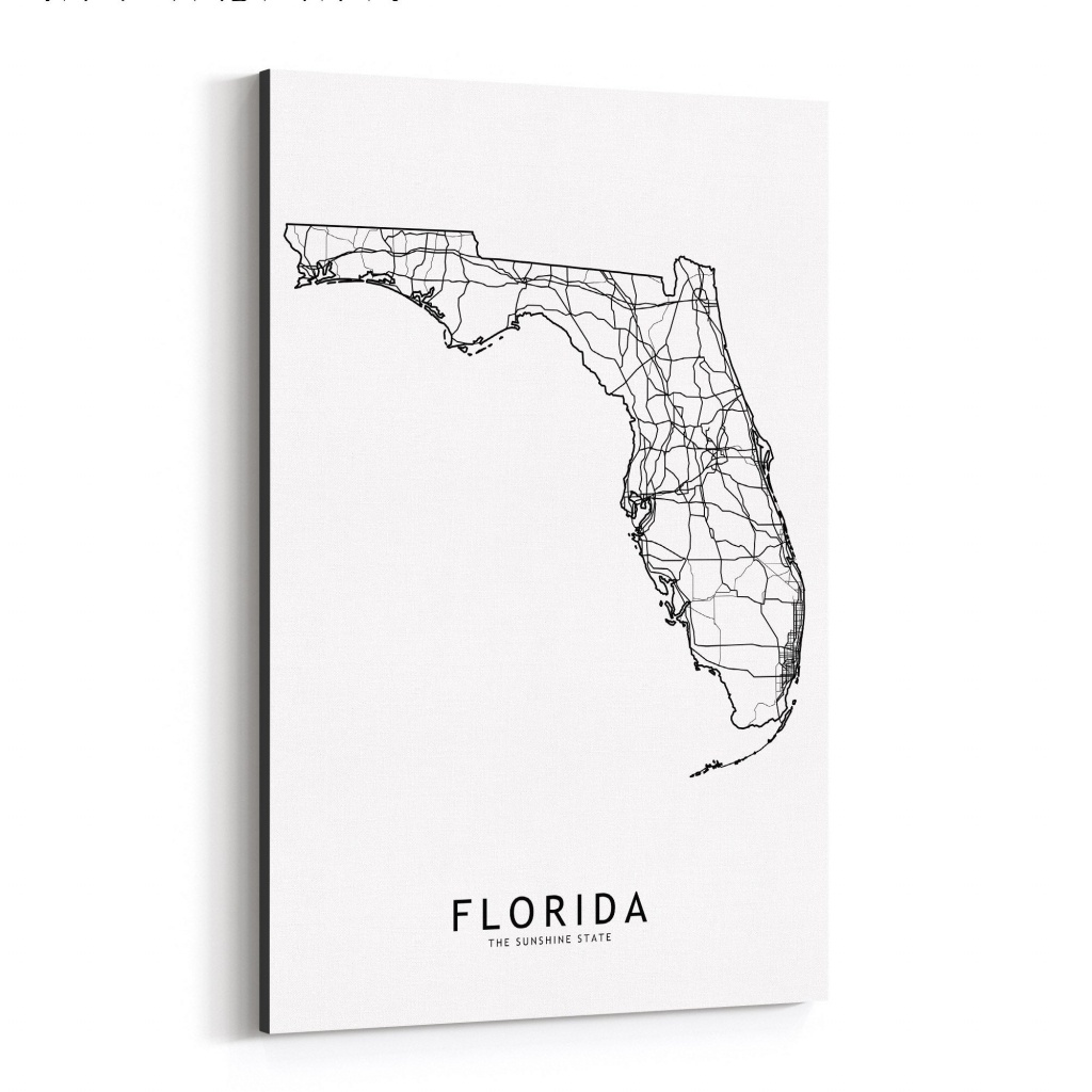 Shop Noir Gallery Florida Black & White State Map Canvas Wall Art - Map Of Florida Art