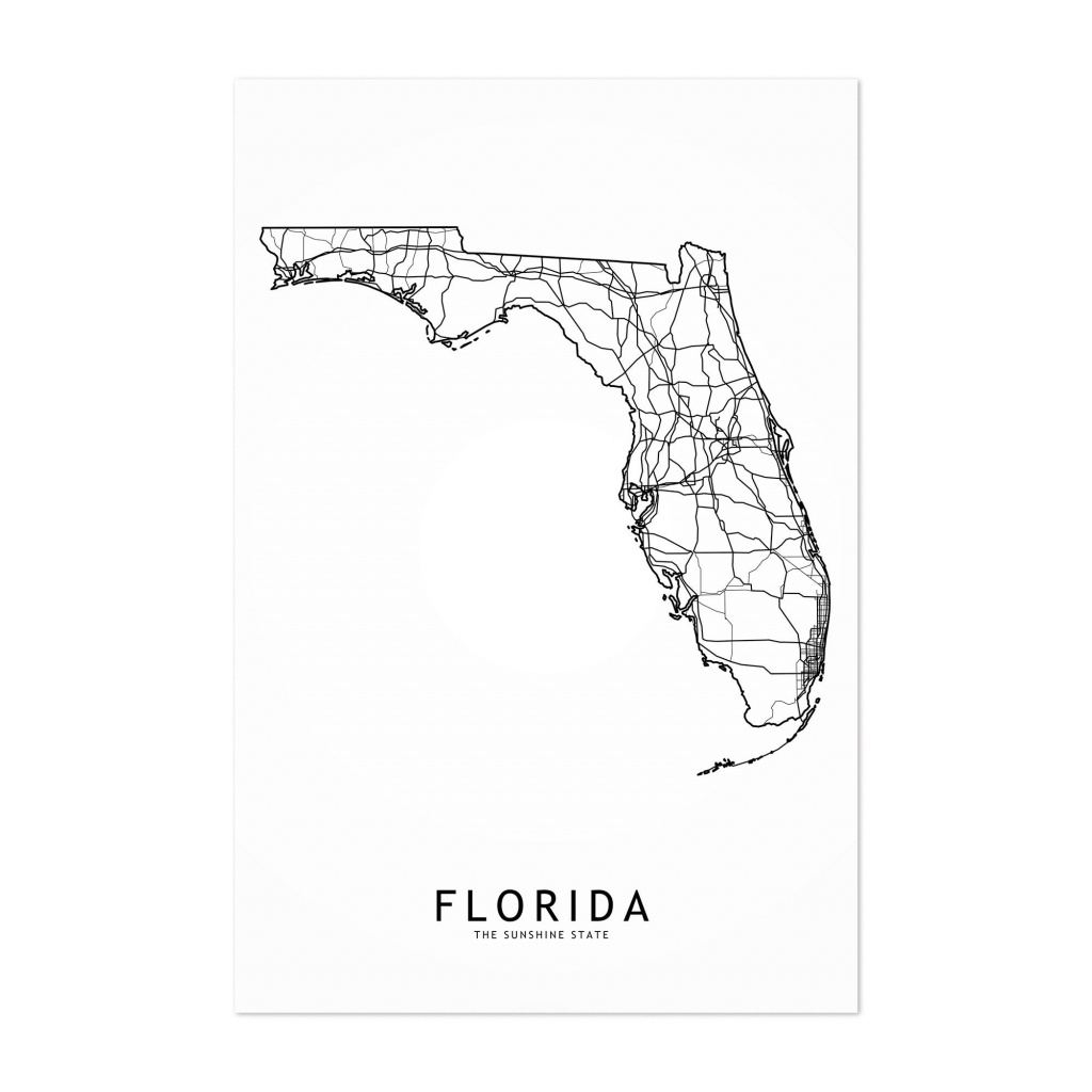 Shop Noir Gallery Florida Black & White State Map Unframed Art Print - Map Of Florida Art