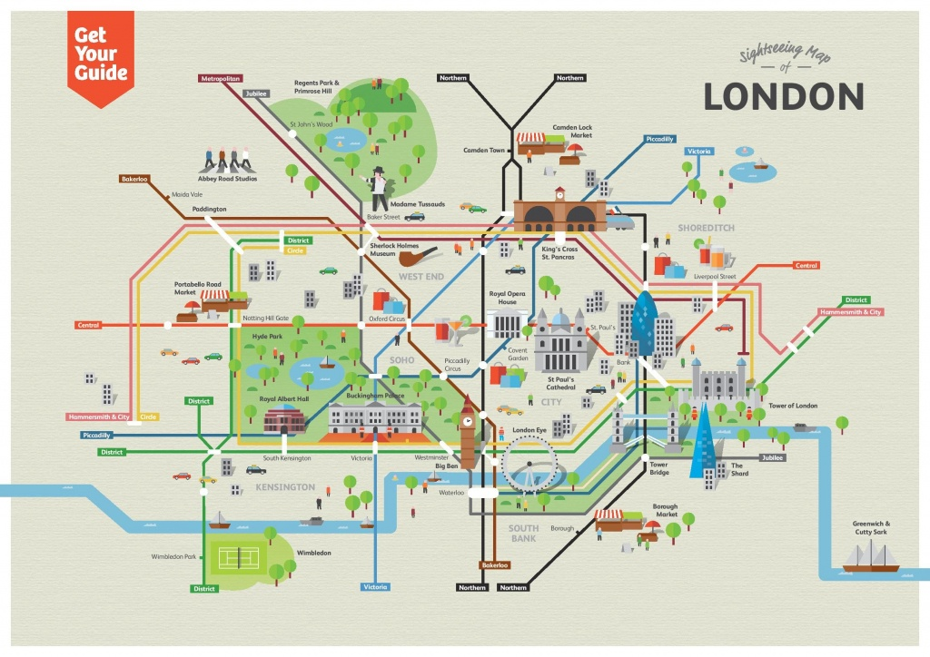 Sightseeing Map Of London Attractions In 2019   London   London - London Sightseeing Map Printable