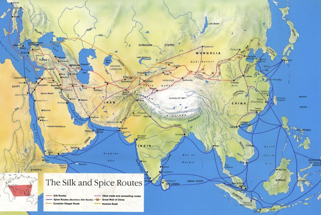 Silk Road Maps 2019 - Useful Map Of The Ancient Silk Road Routes - Silk Road Map Printable