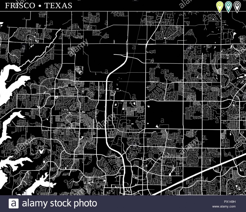 Simple Map Of Frisco, Texas, Usa. Black And White Version For - Map Of Texas Showing Frisco