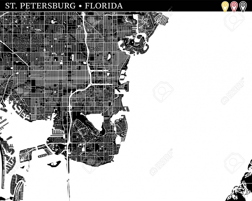 Simple Map Of St. Petersburg, Florida, Usa. Black And White Version - Florida Map Black And White