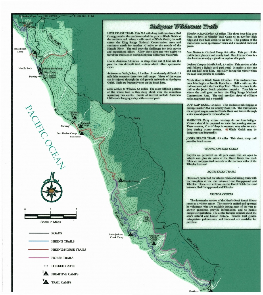 Sinkyone Wilderness State Park | Lost Coast Trails With Regard To - Southern California State Parks Map