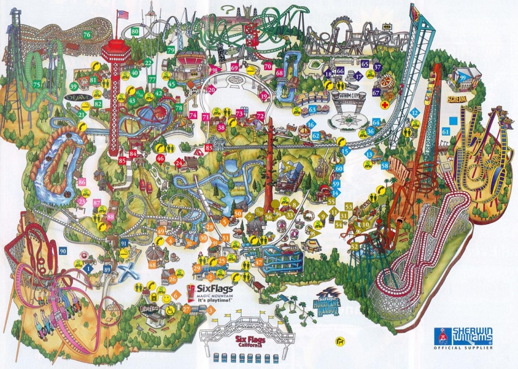Six Flags Magic Mountain Map. | Assorted Ii In 2019 | Theme Park Map - Printable Six Flags Over Georgia Map