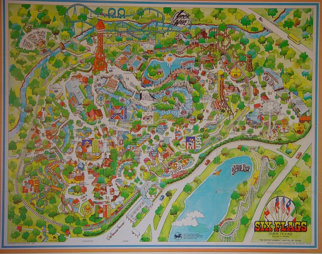 Six Flags Over Texas 1983 | A Demarcation Of Delineated Spatial - Six Flags Over Texas Map
