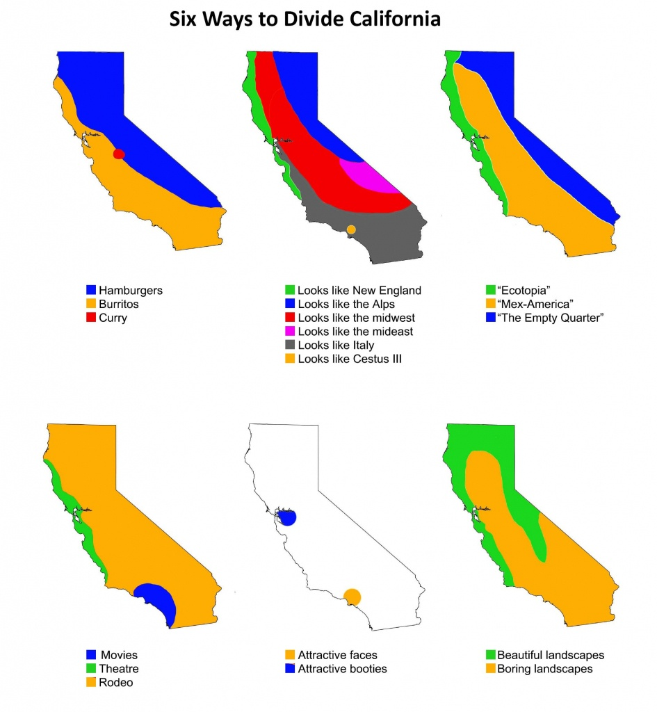 Six Ways To Divide California | Maps | Map, Funny Maps, State Map - Divide California Map
