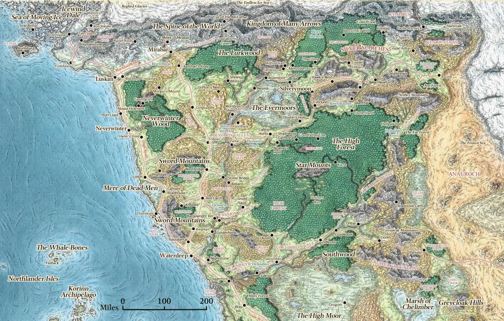 Skt] Map Of The Sword Coast In Storm King's Thunder : Dndnext - Storm King's Thunder Printable Maps