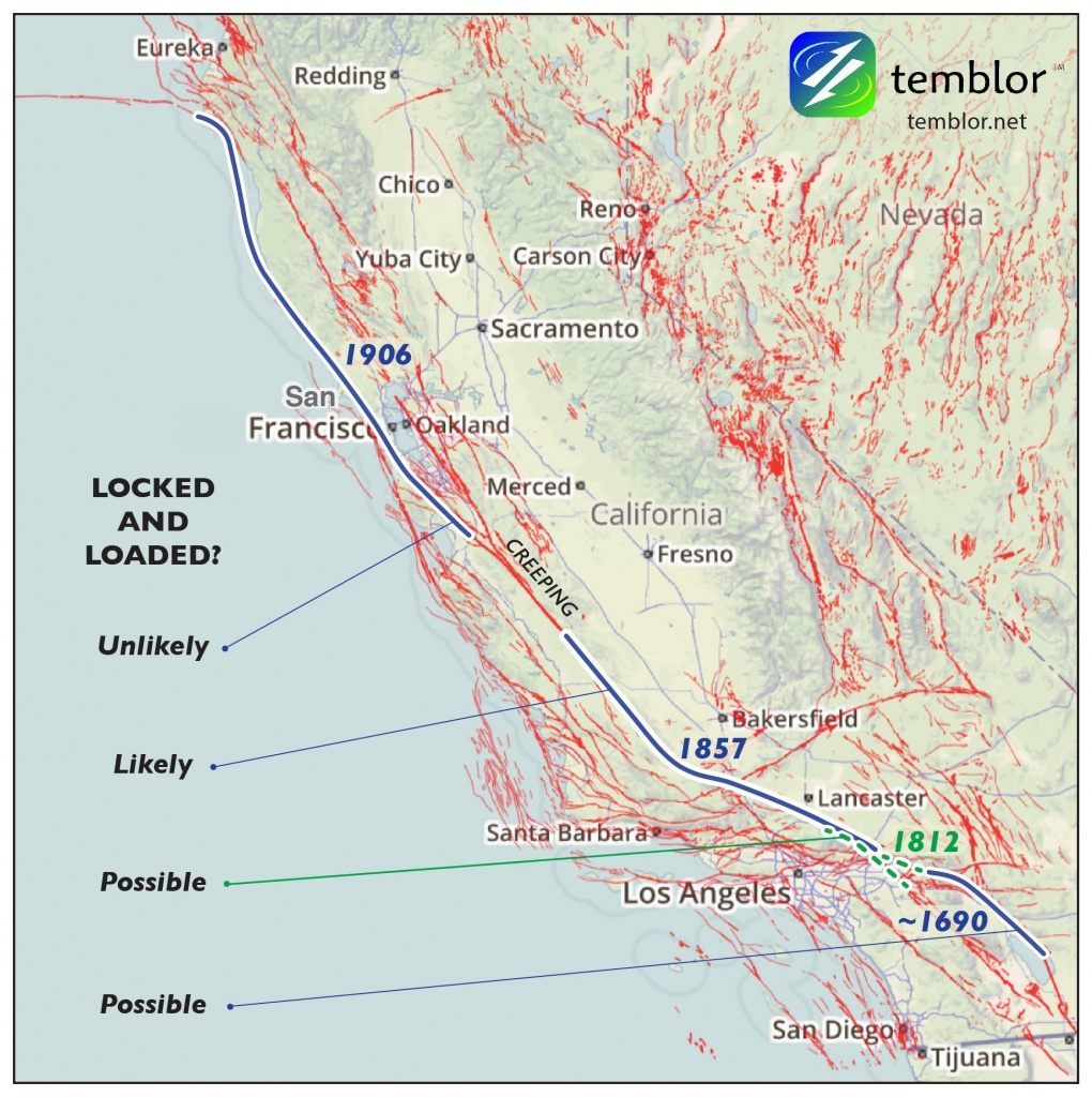 Small Earthquake Near The Big Bend Of The San Andreas Fault - Map Of The San Andreas Fault In Southern California