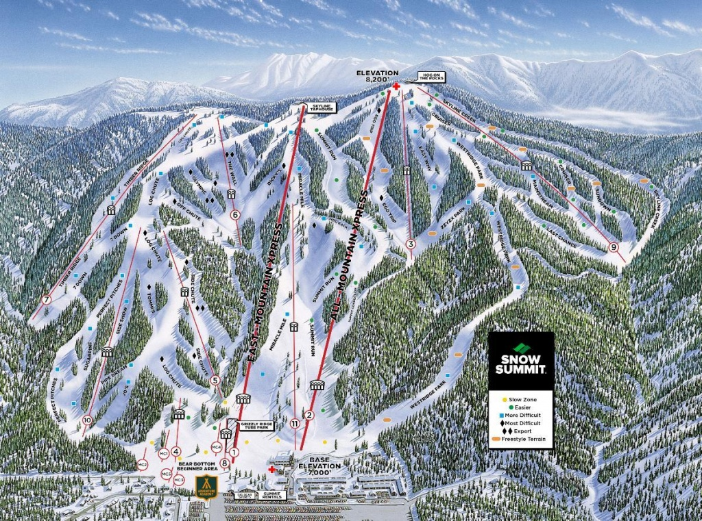 Snow Summit Trail Map   Onthesnow - Big Bear Mountain Map California