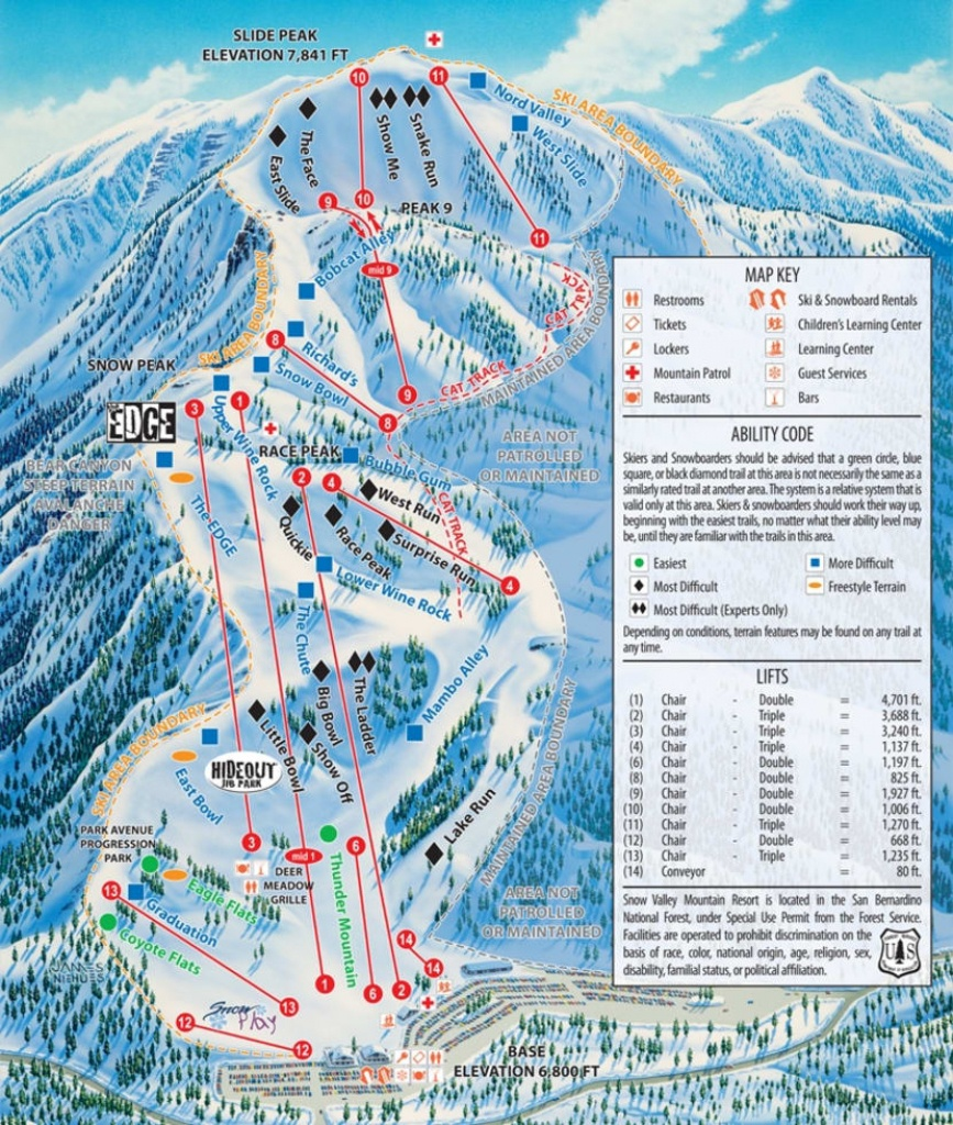 Snow Valley Trail Map   Liftopia - Southern California Ski Resorts Map
