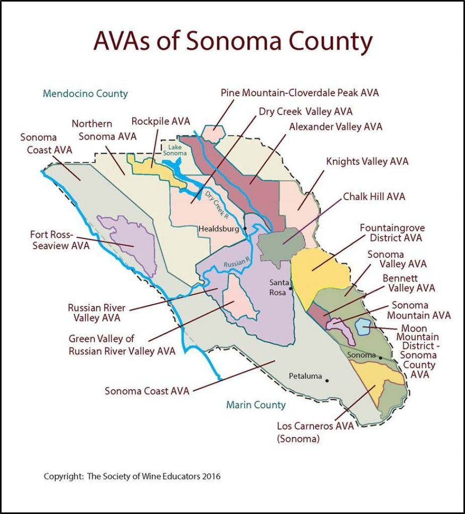 Sonoma – California – Swe Map 2017 – Wine, Wit, And Wisdom - Sonoma California Map