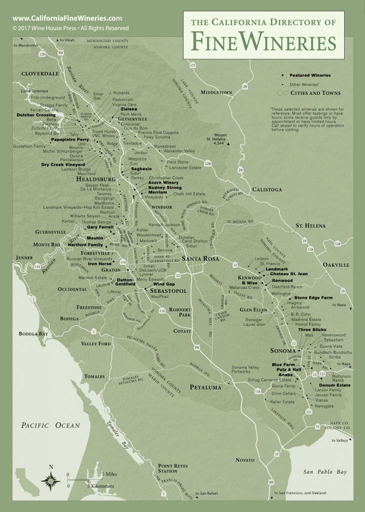 Sonoma County Map Of California Fine Wineries - Map Of Wineries In Sonoma County California