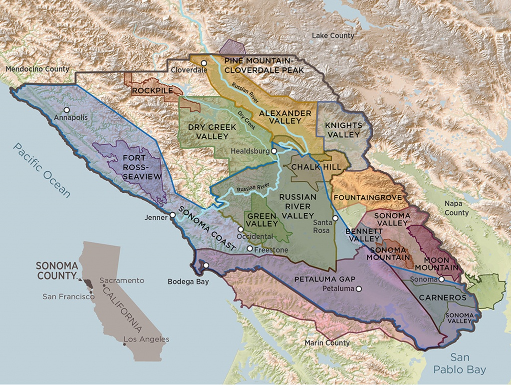 Sonoma County Terroir | A Guide To Sonoma County's 17 Avas - Map Of Northern California Wine Regions
