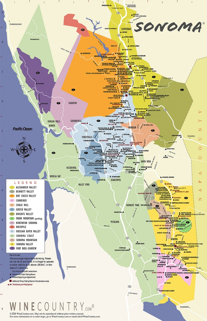 Sonoma County Wine Country Maps - Sonoma - California Wine Trail Map