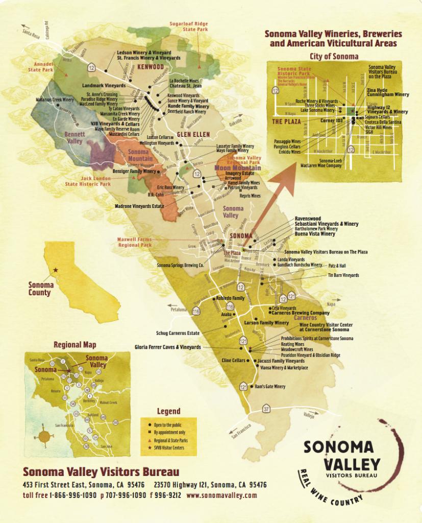 Sonoma Valley Wine Map - Best In Sonoma - Map Of Sonoma California Area