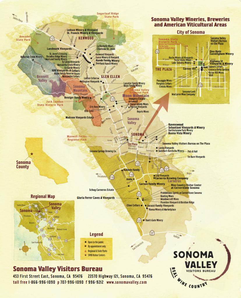 Sonoma Valley Wine Map - Best In Sonoma - Sonoma Wine Country Map California