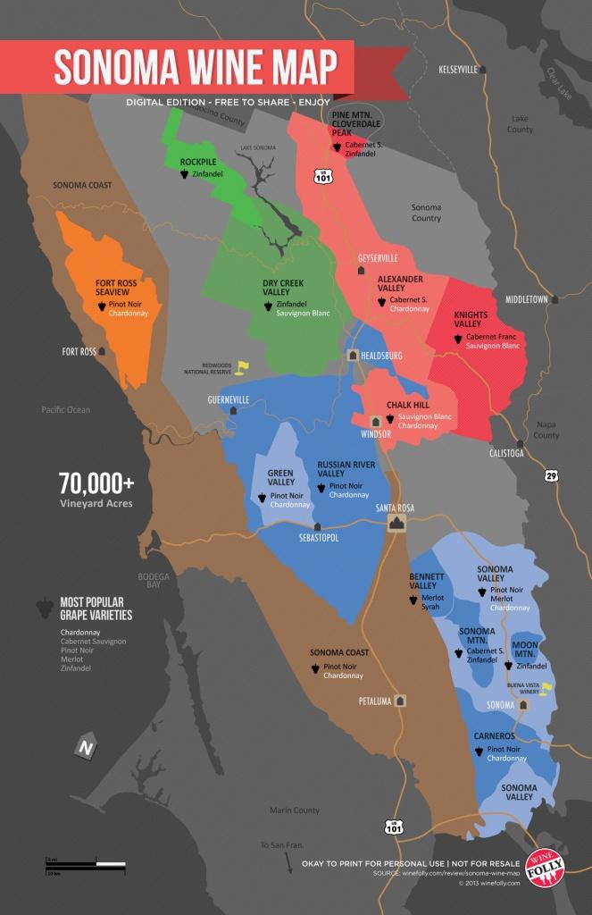 Sonoma Wine Map (Poster) | Wine Folly - California Vineyards Map
