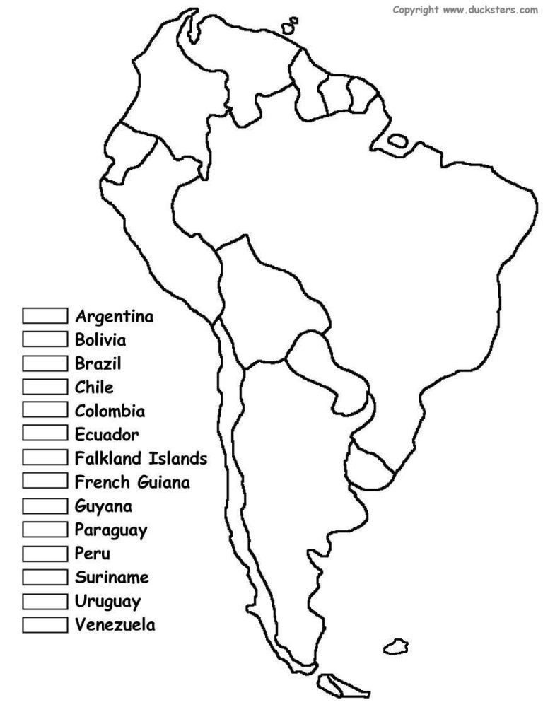 South America Blank Map Of Latin Coloring Countries And Printable - South America Outline Map Printable