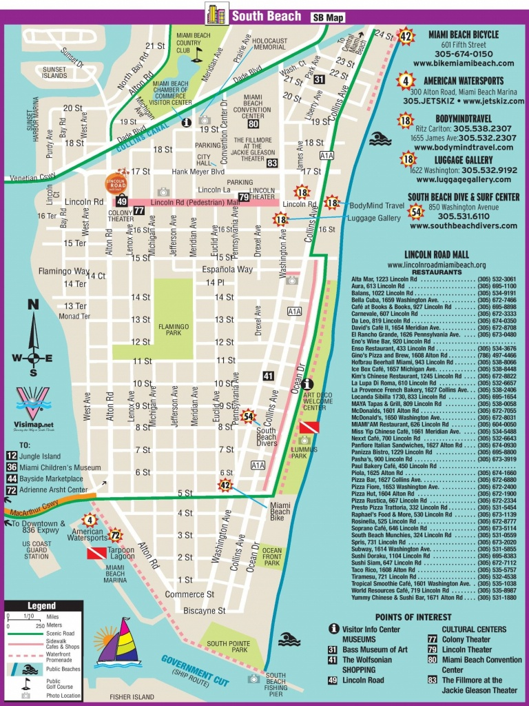 South Beach Restaurant And Sightseeing Map | Miami | South Beach - Map Of Miami Beach Florida Hotels