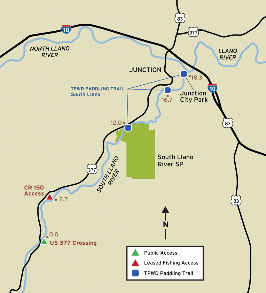 South Llano River Fishing - Junction Texas Map