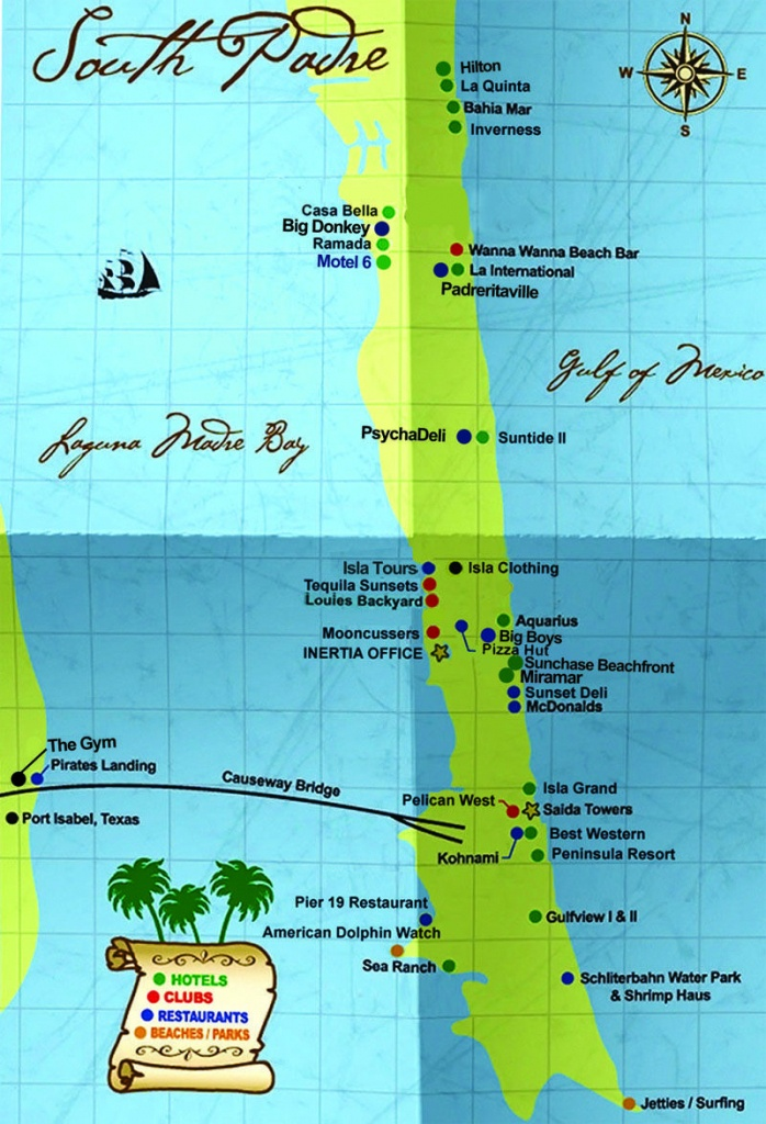 South Padre Island Map   South Padre Island Hotels South Padre - Texas Padre Island Map