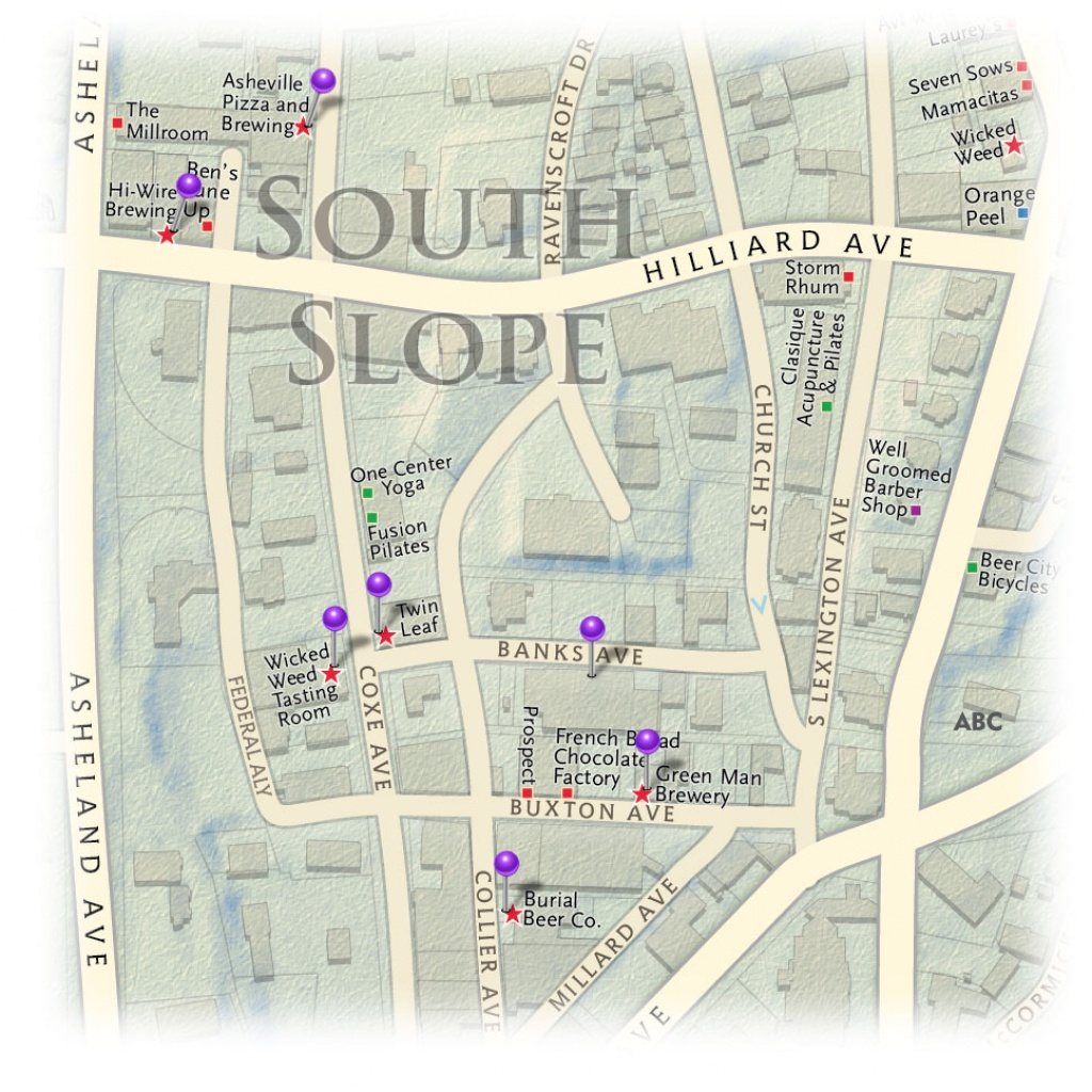 South Slope Breweries Locator Map - - Printable Map Of Downtown Asheville Nc