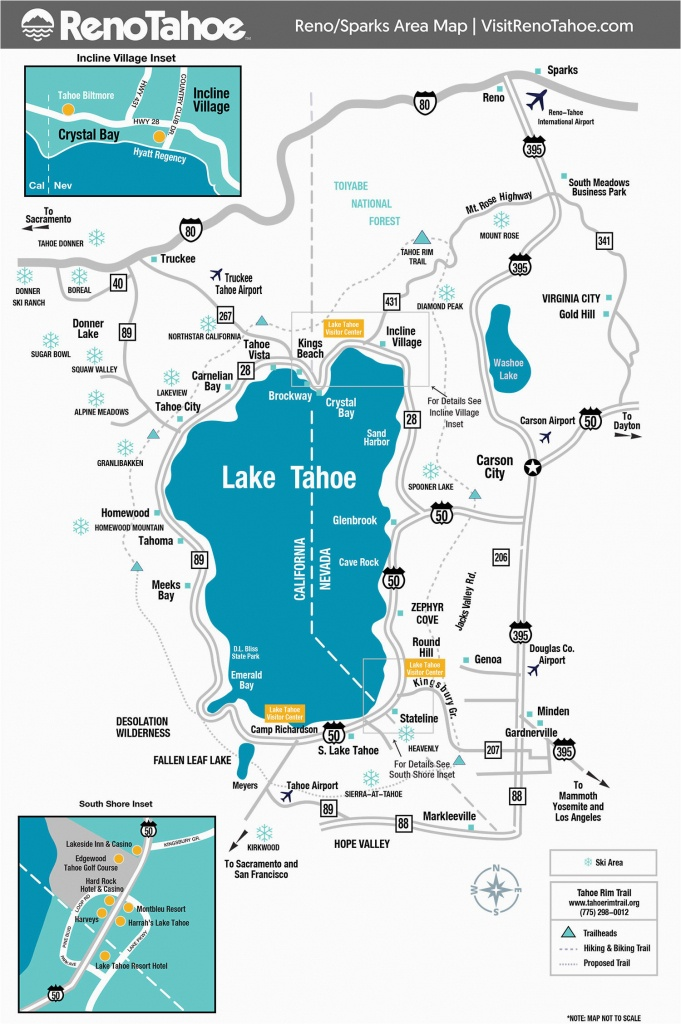 Southern California Breweries Map Lake Tahoe Maps And Reno Maps - Map Of Lake Tahoe Area California