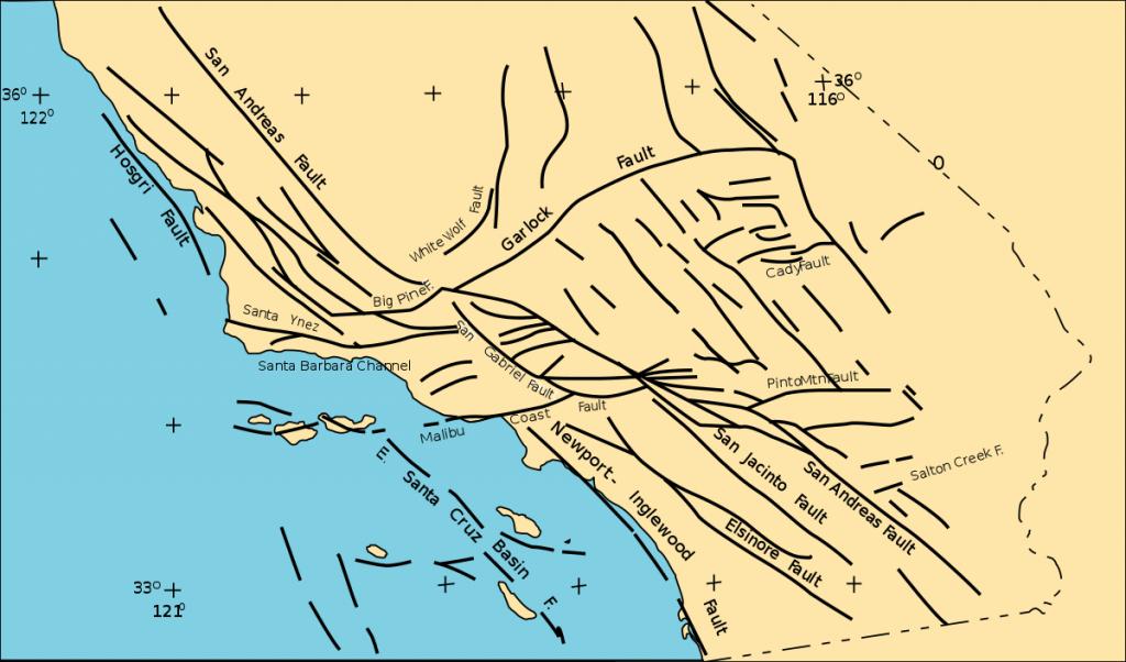 Southern California Faults - Wikipedia - California Fault Lines Map