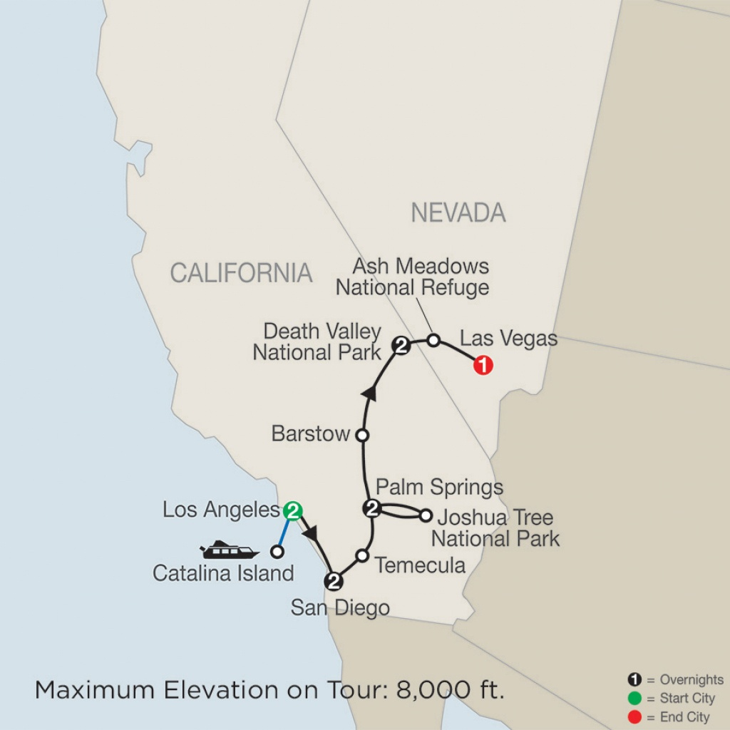 Southern California Tour With Death Valley & Joshua Tree National - Southern California National Parks Map
