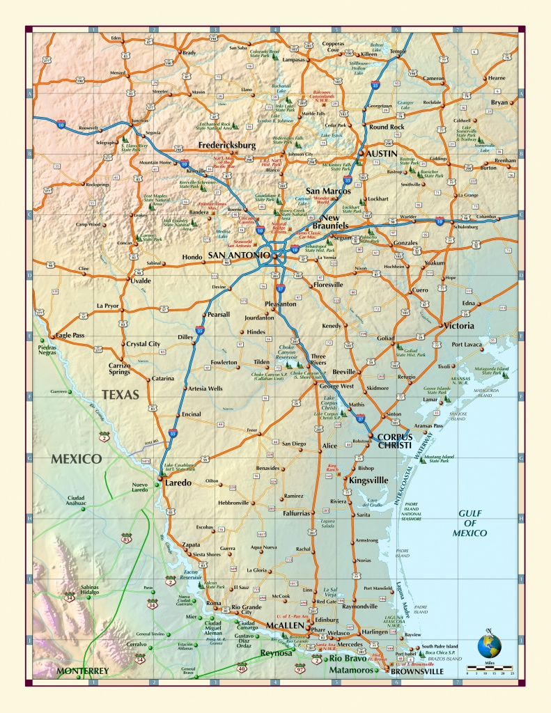 Southern Texas Wall Map - South Texas Cities Map