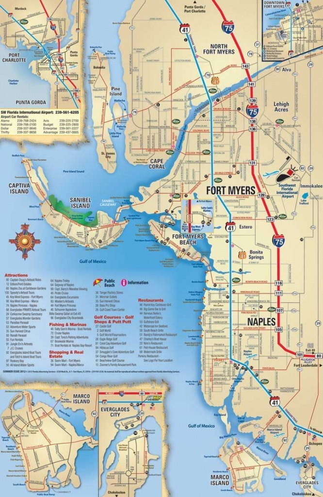 Southwest Florida Map, Attractions And Things To Do, Coupons - Street Map Of Naples Florida